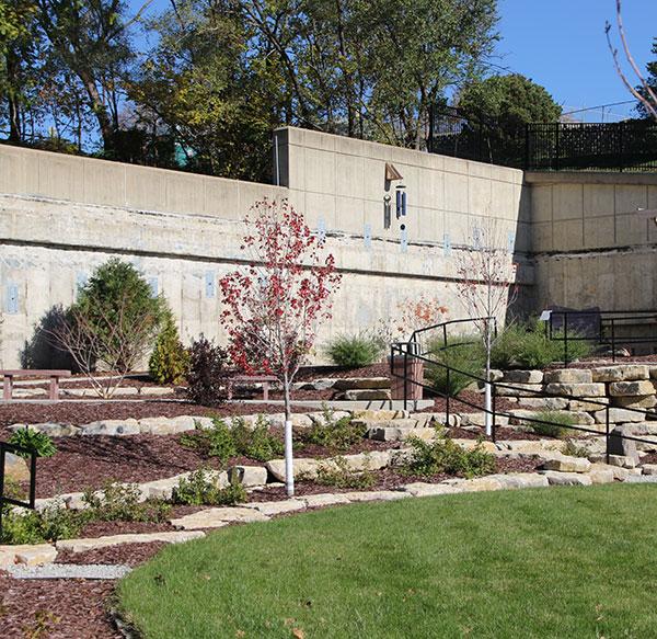 the limestone used for the retaining walls of the shepherds garden is nebraska limestone quarried at weeping water nebraska